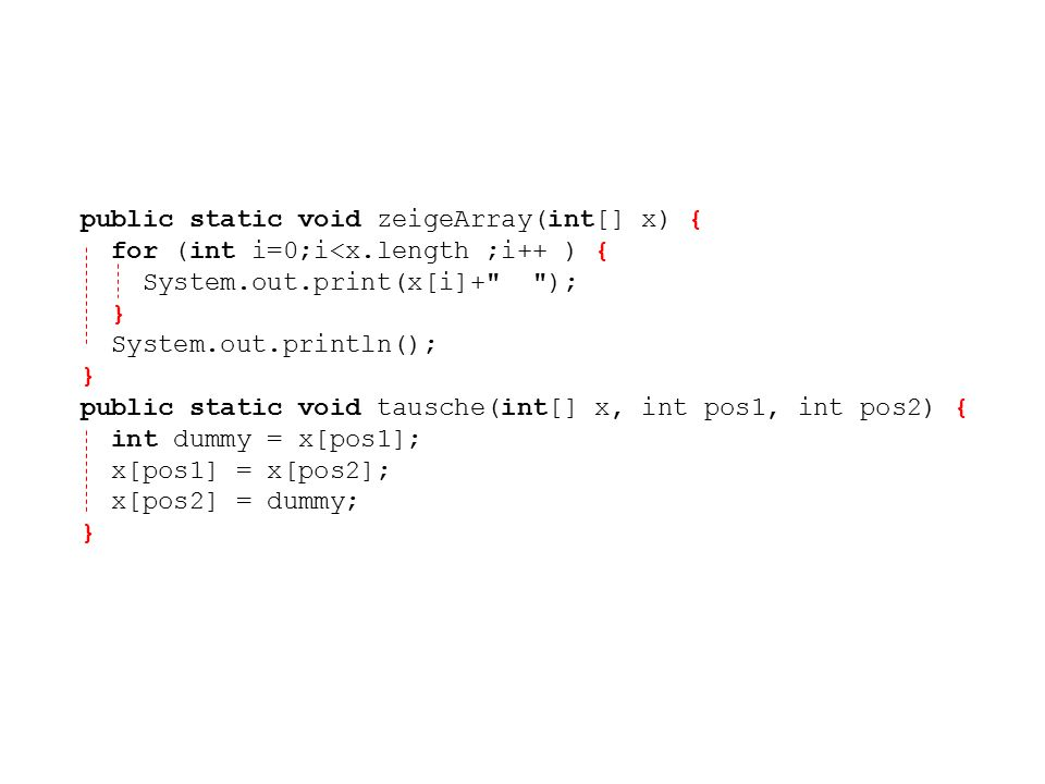 public static void zeigeArray(int[] x) {